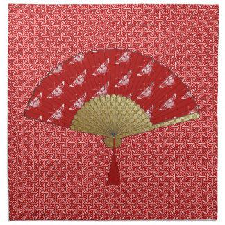 Deco Fan -  Butterflies, Dark Red and White Napkin