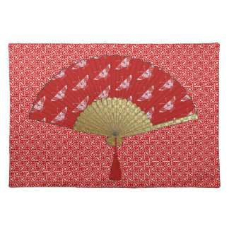 Deco Fan -  Butterflies, Dark Red and White Placemat