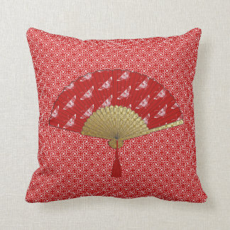 Deco Fan -  Butterflies, Dark Red and White Throw Pillow