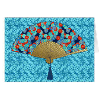 Deco Fan -  Flowers in Cobalt, Turquoise and Red Card