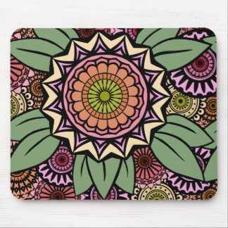 Deco Fandango in Orange and Green Mouse Pads
