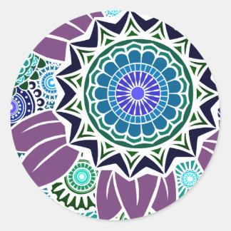 Deco Fandango in Purple and Blue Classic Round Sticker