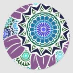 Deco Fandango in Purple and Blue Round Stickers