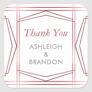 Deco Faux Rose Gold Foil Border | Thank You Square Sticker