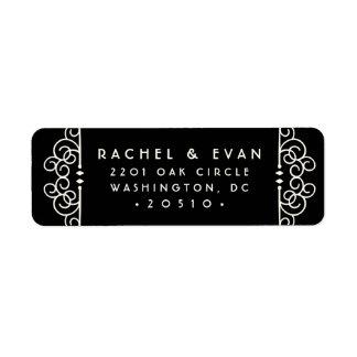 Deco Flourish Return Address Label | Black