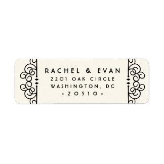 Deco Flourish Return Address Label | Ivory
