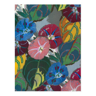 Deco Flowers and Leaves Postcard