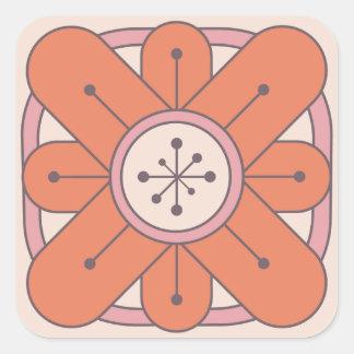 Deco Flowers - Starburst Center - Orange Square Sticker