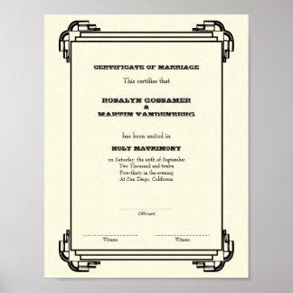 Deco frame keepsake wedding certificate vertical posters
