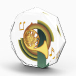 """Deco French Horn Acrylic Award<br><div class=""""desc"""">French Horn in a deco inspired design of warm colors.</div>"""