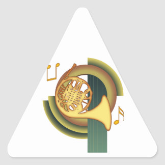 Deco French Horn Triangle Sticker