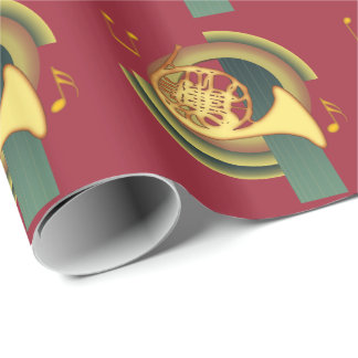 Deco French Horn Wrapping Paper