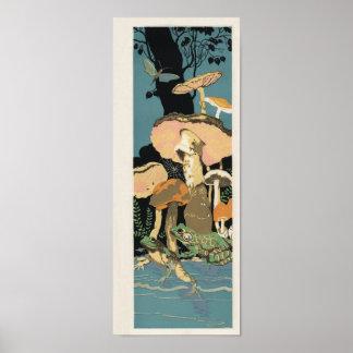 Deco frog toad mushroom poster