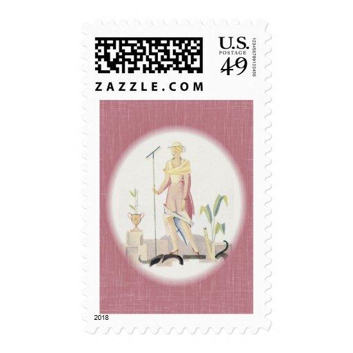 Deco Gardening Lady Stamp