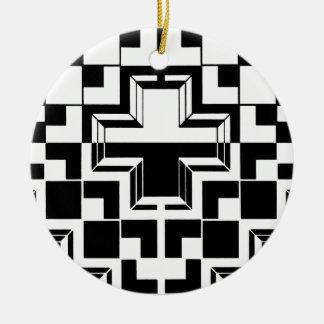 Deco geométrico adorno navideño redondo de cerámica