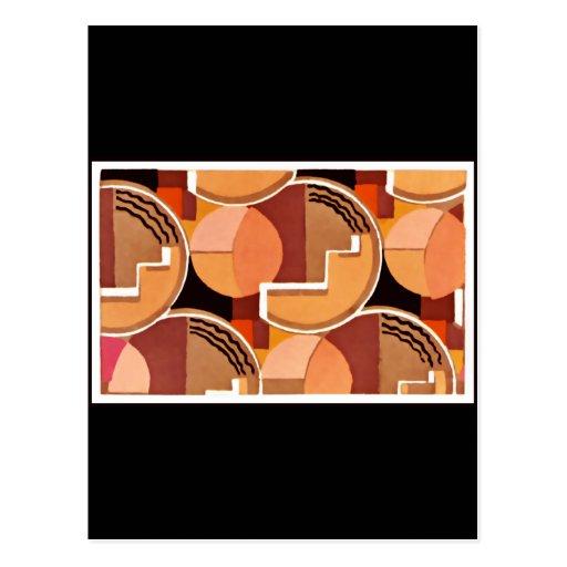 Deco geométrico en naranjas tarjetas postales