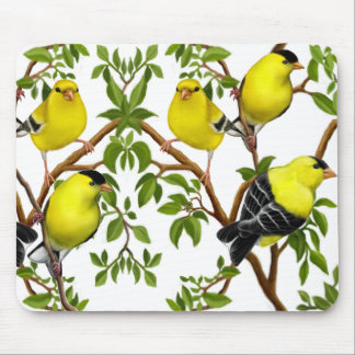 Deco Goldfinches in Vines Mousepad
