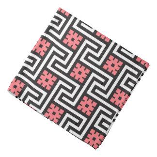 Deco Greek Key, Black, White and Coral Pink Bandana