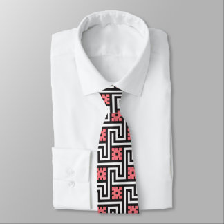Deco Greek Key, Black, White and Coral Pink Neck Tie