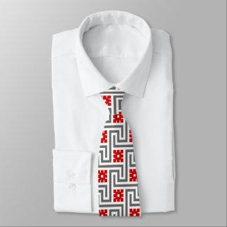 Deco Greek Key, Red, White and Grey / Gray Tie