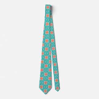 Deco Greek Key, Turquoise, Aqua and Coral Neck Tie