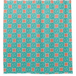 Orange And Turquoise Shower Curtains