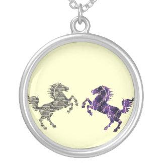 Deco Horse Round Pendant Necklace