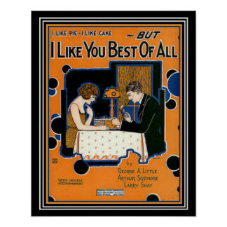 "Deco  ""I Like You Best of All"" Sheet Music Print"