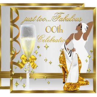 Deco Lady Gold White Too Fabulous Birthday Card