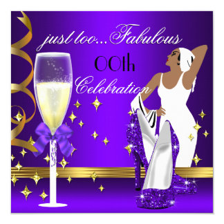 Deco Lady Purple Gold Too Fabulous Birthday Card