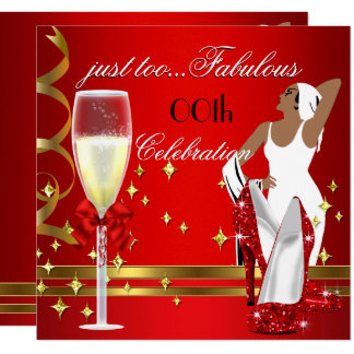 Deco Lady Red Gold Too Fabulous Birthday Party 2 Card