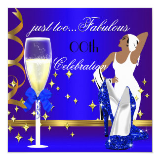 Deco Lady Royal Blue Gold Too Fabulous Birthday 5.25x5.25 Square Paper Invitation Card