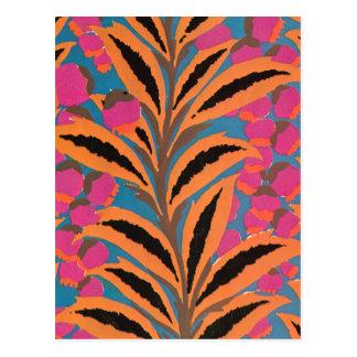 Deco leaves in Orange Postcard