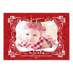 Deco Leaves Mistletoes Joyeux Noel Holiday Card Announcements