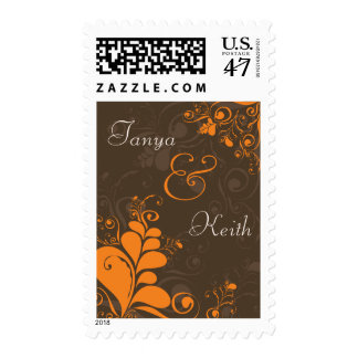 Deco Leaves Swirls Brown Announcement Stamps