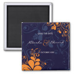 Deco Leaves Swirls Navy Blue Save The Date Magnet