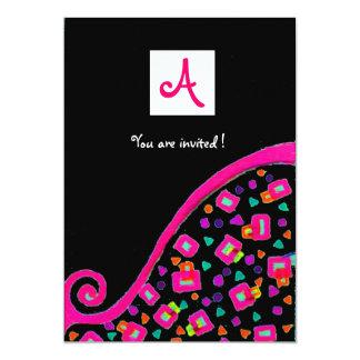 DECO MONOGRAM,black ,pink violet white Card