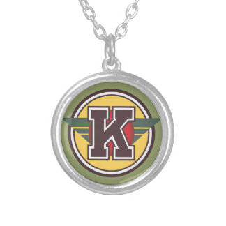 "Deco Monogram ""K"" Silver Plated Necklace"
