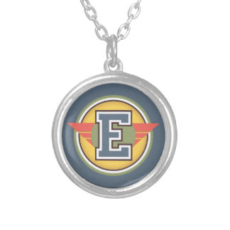 "Deco Monogram Letter ""E"" Initial Silver Plated Necklace"