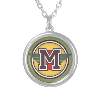 "Deco Monogram Letter ""M"" Initial Silver Plated Necklace"