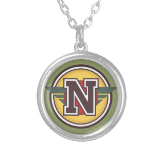 """Deco Monogram Letter """"N"""" Initial Silver Plated Necklace"""