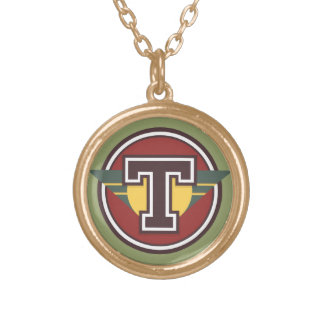 "Deco Monogram Letter ""T"" Initial Gold Plated Necklace"