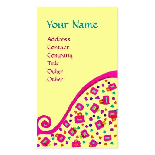 DECO MONOGRAM , Pink Fuchsia Black Yellow Business Card