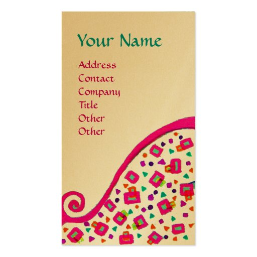 DECO MONOGRAM pink fuchsia gold metallic paper Business Cards