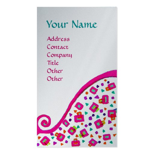 DECO MONOGRAM pink fuchsia platinum metallic paper Business Cards