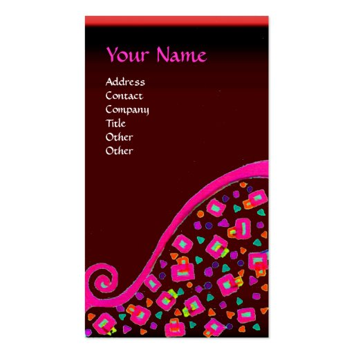 DECO MONOGRAM , Pink Fuchsia Red Business Card Templates