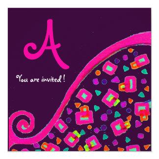 DECO MONOGRAM,Pink Violet Fuchsia Purple Card