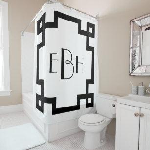 Details about  /Greek Key Shower Curtain Retro Frieze Ornament Print for Bathroom