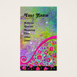 DECO MONOGRAM Yellow Pink Fuchsia Violet Sparkles Business Card