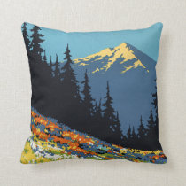 Deco nature, mountain, wildflower pillow